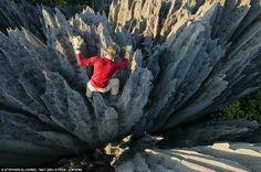 Rock Climber in the Great Tsingy, Madagascar by Stephen Alvarez