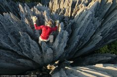 A rock climber in The Great Tsingy, Madagascar. Photo by Stephen Alvarez for Nat Geo.