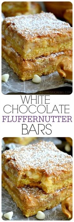 These White Chocolate Fluffernutter Bars will squash your sweet and salty cravings! Creamy peanut butter, sweet marshmallow creme and white chocolate combine to make these ultra gooey, super chewy, impossibly EASY bars!