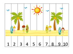 At the Beach themed Number Sequence Puzzle. Numbers 1-10. Preschool, Pre-K, Kindergarten. from teachatdaycare on TeachersNotebook.com -  (1 page)  - At the Beach themed Number Sequence Puzzle. Numbers 1-10. Preschool, Pre-K, Kindergarten. Number sequencing, numerical order, number recognition, counting.