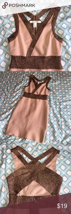 Forever 21 Party Dress Used ONCE. Beautiful Nude Pink with brown Glitter. Fitted short dress. 95% Polyester 5% spandex. Perfect for any party/date/holidays! Thick fabric helps you look slimmer. Forever 21 Dresses Mini