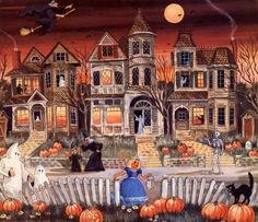 Halloween is in 3 and a half months! Alice Halloween, Halloween Artwork, Halloween Scene, Halloween Painting, Halloween Prints, Halloween Pictures, Holidays Halloween, Scary Halloween, Halloween Themes