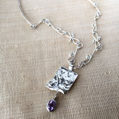 Handmade silver chain necklace, amethyst pendant, sterling silver and gem pendant by LunicaDesignJewelry on Etsy