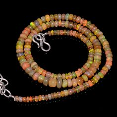 "51CRTS 3.5to6MM 18"" ETHIOPIAN OPAL RONDELLE BEAUTIFUL BEADS NECKLACE OBI3145 #OPALBEADSINDIA"