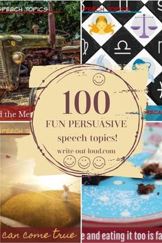 Who says a persuasive speech needs to be serious and deeply meaningful to be effective? No one. Here's 100 ( 5)  persuasive speech topics to have fun with. ☺ Speech Writing Tips, Persuasive Speech Topics, Writing Strategies, Interesting Speech Topics, Demonstration Speech, Public Speaking Activities, Speech Outline, Middle School Ela, Being Good