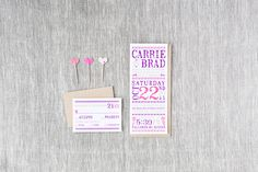 Carrie & Brad - Paper & Poste Custom Invitation Custom Invitations, Carry On, Carrie, Paper, Stationary, Hand Luggage, Hand Carry Luggage