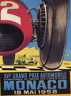 1958 MAY XVI GRAND PRIX AUTOMOBILE CAR RACE MONACO LARGE VINTAGE POSTER REPRO | eBay