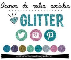 Diseño de blogs: Freebies: Iconos de redes sociales glitter
