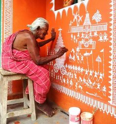 Indoor Gardening Quick, Clean Up, And Pesticide Free - Make Your Own Warli Painting Process . Worli Painting, Painting Process, Madhubani Art, Madhubani Painting, Indian Wall Art, Indian Arts And Crafts, Pottery Painting Designs, Indian Art Paintings, India Art
