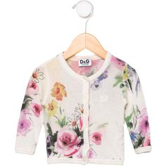 Pre-owned D&G Girls' Floral Cardigan ($75) ❤ liked on Polyvore featuring tops, cardigans, green, white long sleeve top, colorful cardigans, floral print top, floral print cardigan and long sleeve tops