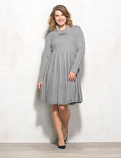 Plus Size Shimmer Cowl Neck Flared Sweater Dress