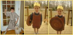 We did the bible story of David and Goliath.  So I made costumes for the boys.  The 1st pic is David as a shepherd boy and the 2nd and 3rd pics are of King Saul in his battle armor and shield made entirely of cardboard that I cut and taped together and then painted it all by hand.  Their daddy was Goliath but was camera shy.