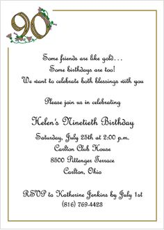 90 birthday invitations | Golden Birthday - 90th Birthday ...