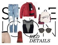 """red details"" by evelina-hagstrom on Polyvore featuring La Perla, Topshop, Varley, Timberland, Tommy Hilfiger and Christian Dior"