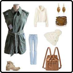 Roris: Giaccone militare vintage senza maniche riadattato con taglio femminile, con cinta in cotone e jeans, rammendi, toppe in denim e impunture in cotone.