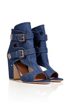 LAURENCE DACADEDenim Blue Doony Open Toe Sandals ($860) I am slowly getting into denim! In Love with these.