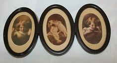 All 3 pictures are still connected. However, the tabs behind the cupid awake picture have snapped off. Christian Kids, Oval Frame, Vintage Photographs, Cupid, Vintage Prints, Old Photos, Framed Art, Picture Frames, Owl