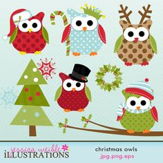 Christmas Owls cute clipart set comes with 10 christmas clipart graphics including 5 original christmas owls, a christmas tree, a christmas wreath, a branch and two snowlfakes  Graphics are made in High Quality 300 dpi and come in JPG, PNG & EPS format