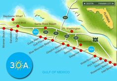 30A South Walton Interactive Map. Take a virtual tour of the beach communities! Use the Jump to a Location button on the mini-map below to instantly move between towns, or click the Points of Interest button to learn more about the many state parks and fun activities you'll enjoy along Florida's Scenic Highway 30A.