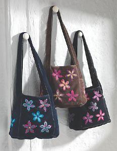 Hippy Bag~Bohemian Velvet Bag with Embroidered Flowers~Fair trade through Folio Gothic Hippy SB170