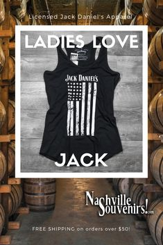 dbe51cd1 Officially licensed Jack Daniels women's vertical flag tank top in a  blackish color. This racerback