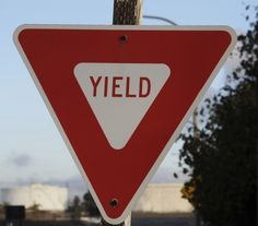 Yield sign in Port of Los Angeles, Long Beach.