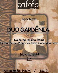 """Nessa Quinta Feira 24 de Novembro show com o Duo Gardênia, que é o encontro espontâneo entre dois músicos que decidem juntar-se para capturar a essência que envolve a música de diferentes culturas latino-americanas, e tentar sintetizá-las na interpretação de piano e voz. Com o intuito de unir culturas tão próximas geograficamente, mas ao mesmo...<br /><a class=""""more-link""""…"""