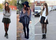 falda piel con suéter y medias