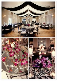 Tampa Yacht & Country Club Wedding by K and K Photography on BorrowedandBleu.com use Art deco wallpaper as table runners instead of blk and white table cloth-just an idea
