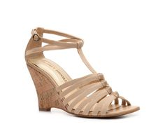 Audrey Brooke Amber Wedge Sandal- 49.95, DSW.  This might be a good strappy wedge.  I think the nude works best for this particular shoe.