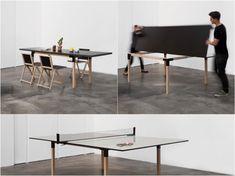 卓球台に変身するダイニングテーブル【Pull-Pong】