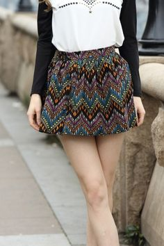 Colorfully patterned skirt