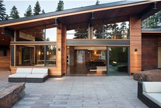 Exotic Mountain House Using Exotic Wooden Material and Natural Stone : Awesome Modern Patio Design Mountain Modern Digs Exterior Design Exterior, Modern Exterior, Modern Roofing, Patio Design, Tiny Homes, New Homes, Dream Homes, Modern Mountain Home, Mountain Living