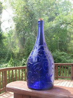 "Vintage Blue Cobalt Glass Empty Vine Bottle "" Vin de Pays"" 12"" Tall"