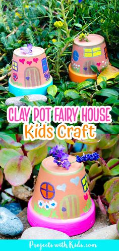 These fairy houses are just adorable and so easy to make! Kids will love creating these painted fairy houses and finding special places for them in the garden. Easy to make for kids of all ages with just a few simple supplies. Spring Arts And Crafts, Spring Art Projects, Craft Projects For Kids, Arts And Crafts Projects, Crafts To Do, Kid Crafts, School Projects, Fairy Houses Kids, Fairy House Crafts