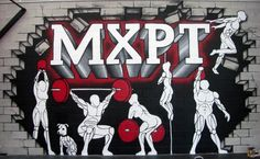 Auckland gym feature wall mural