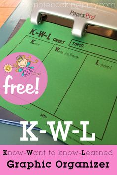 K-W-L Graphic Organizer Printable
