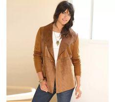 Sako z dvoch materiálov Blazer, Jackets, Women, Fashion, Down Jackets, Moda, Fashion Styles, Blazers, Fashion Illustrations