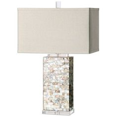Creamy Capiz Shell Tiled Lamp