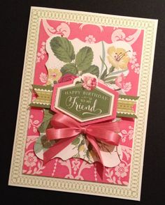For Your Friend's Birthday: Fancy Shabby-Sweet Pink Floral Card with Elegant Anna Griffin Papers