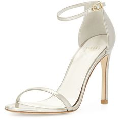 Stuart Weitzman Nudistsong Patent Leather Sandal ($425) ❤ liked on Polyvore featuring shoes, sandals, chaussure, heels, magnesium, patent leather sandals, patent sandals, d orsay sandals, stuart weitzman shoes ve high heel shoes