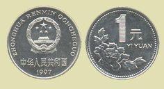 """Yuan chinês (1949-em uso) (x) 1 yuan (1991-1999) O: O: Tian'anmen ou """"Portão da Paz Celestial"""" ou portão da Cidade Proibida em Pequim, cinco estrelas e em chinês """"República Popular da China""""/R: uma peônia e o valor."""