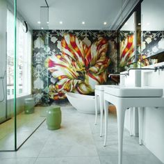 Amazing bath featuring bold art