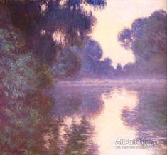Claude Monet Misty Morning On The Seine Blue oil painting reproductions for sale