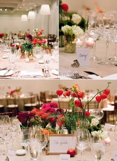 mixed red flowers wedding