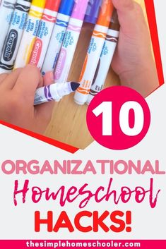 There are so many simple ideas you can use to improve your homeschool day and make it more organized. Check out my top 10 homeschool hacks to help you homeschool better and smarter today! #homeschool #homeschoolorganization #homeschoollife #hacks #solutions #tips #organization