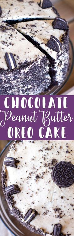 The classic combination of peanut butter and chocolate is taken to a whole new level with this chocolate cake topped with peanut butter frosting and crushed peanut butter cup Oreos!