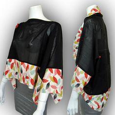KAWAII! Japanese Kimono Recycled- 2-Way Origami Blouse Shrug - Two-Tone /Leaf Pattern by Kazuenxx on Etsy
