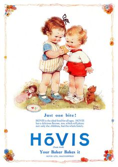 Mabel Lucie Attwell - An adorably illustrated Hovis Bread ad from 1926-27.