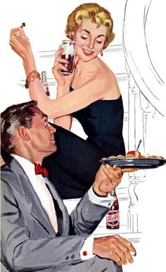 Vintage Pepsi ad.  He's serving her, right??
